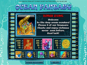 Ocean Fantasy Slot Paytable Screen