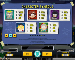 South Park Reel Chaos Pay Table Screenshot
