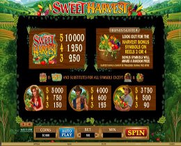 Sweet Harvest Bonus Page Screenshot