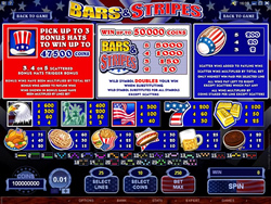 Screenshot of Bars and Stripes Payout Screen