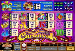Payout Screen for Carnaval Slot