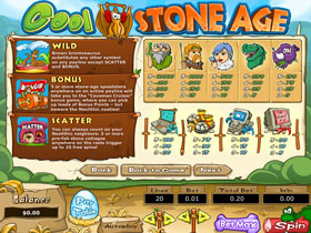 Cool Stone Age Slot Payout Screen