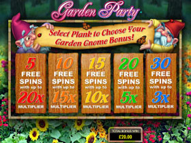 Garden Party Slot Bonus Screen
