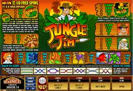 Jungle Jim Slot Payscreen