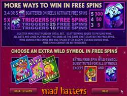 Mad Hatters Slot Payout Screen