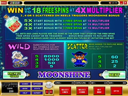 Moonshine Slot Payscreen