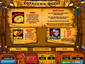 Voyagers Quest Slot Paytable Screen