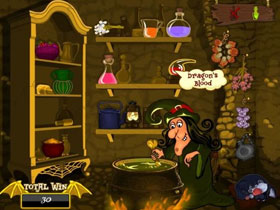 Witches Cauldron Slot Bonus Game Screen
